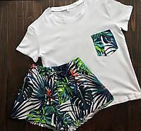 Пижама футболка и шорты L-XL листья