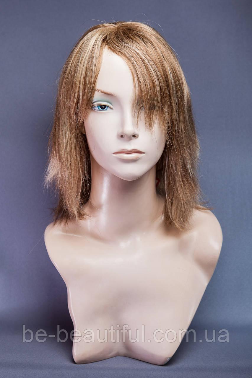 Натуральный парик №10, цвет мелирование русый с белым