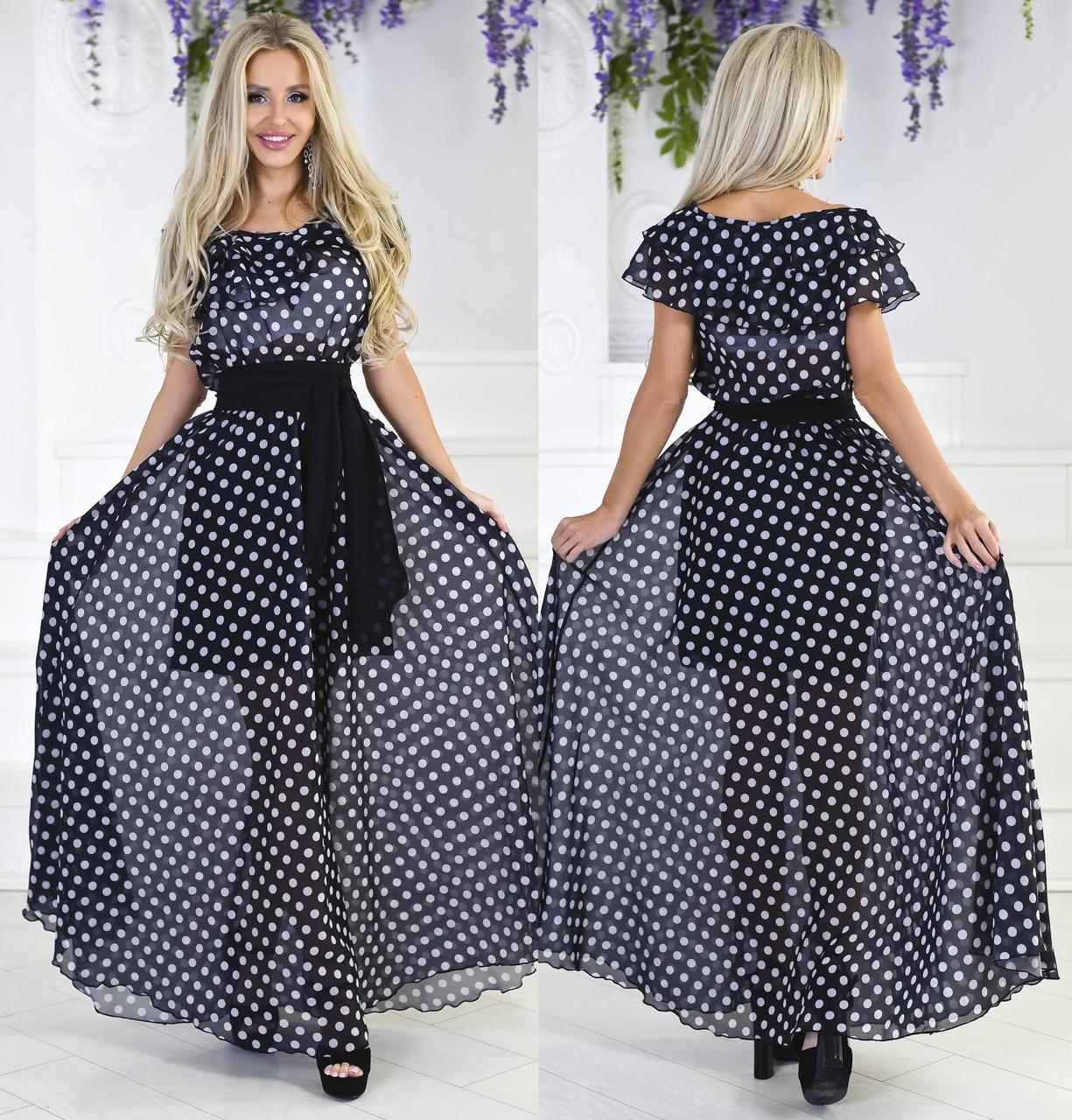 18ee406b3067786 Длинное летнее платье в горошек. Чёрное, 3 цвета. - ВРЕМЯ МОДЫ в Одессе