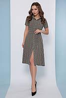 Женское летнее платье рубашка с расклешенной юбкой и поясом 42 44 46 48 50 52