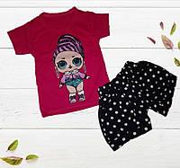 Детский летний комплект для девочки, футболка+шорты