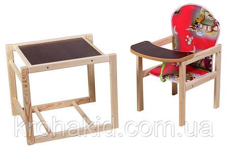 Стільчик для годування дерев'яний / стільчик - трансформер Наталка Зайчик - (Мишки), фото 2