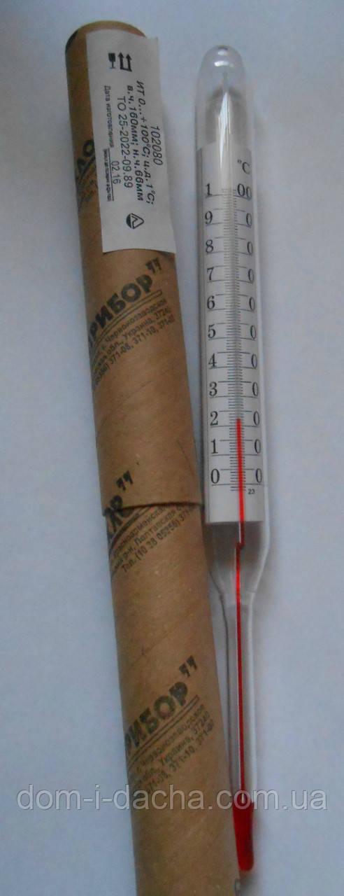 Термометр спиртовой стеклянный - 100градусов