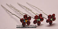 Шпилька цветок в камнях красный, Код 0435
