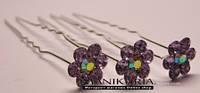 Шпилька цветок в камнях сиреневый, Код 0435