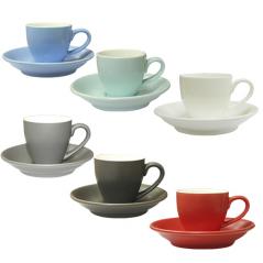 Чашка с блюдцем цветная вариант от 1 до 8 цв (чашка-70мл,блюдце-12см)