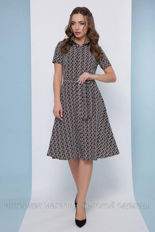 Женское летнее платье рубашка длиной миди и коротким рукавом