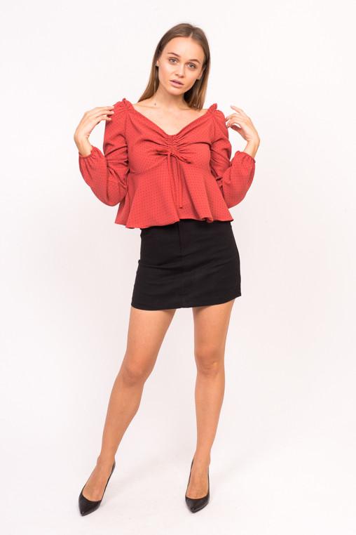 Блузка с открытими плечиками LUREX - красный цвет, S (есть размеры)