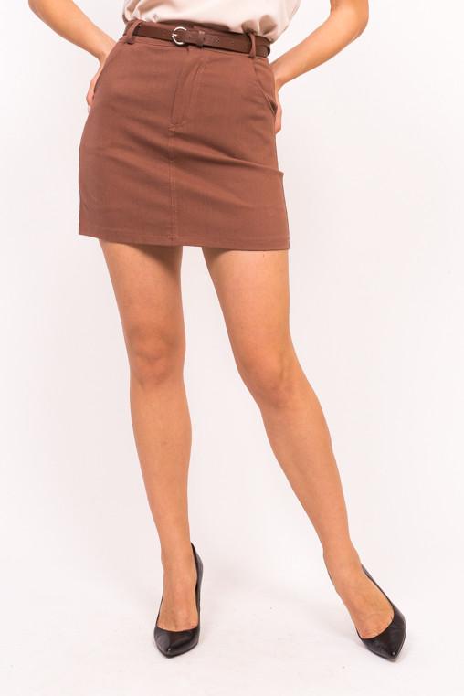 Стильная юбка с пояском LUREX - коричневый цвет, S (есть размеры)
