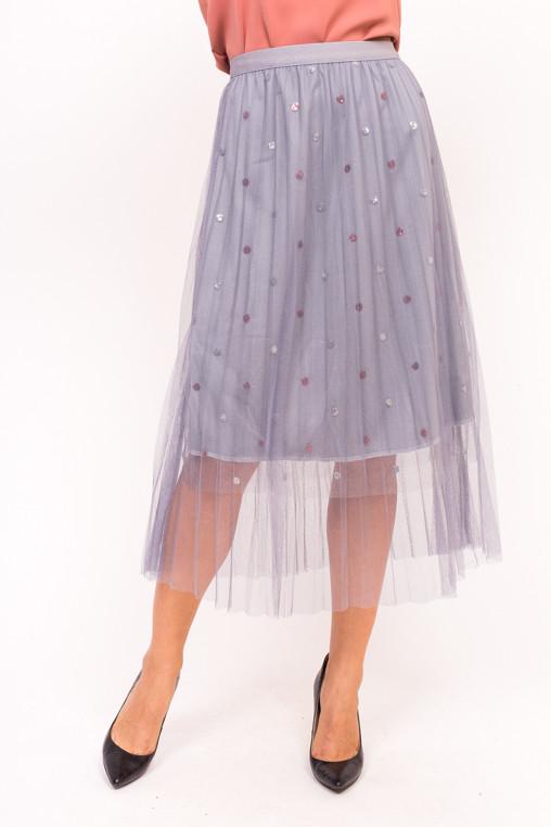 Фатиновая юбка с блестками LUREX - серый цвет, S (есть размеры)