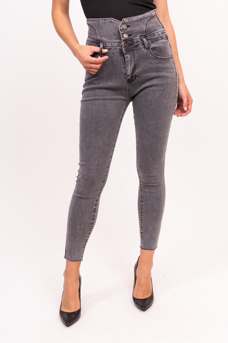 Женские джинсы с высокой талией Yuanse - серый цвет, L (есть размеры)