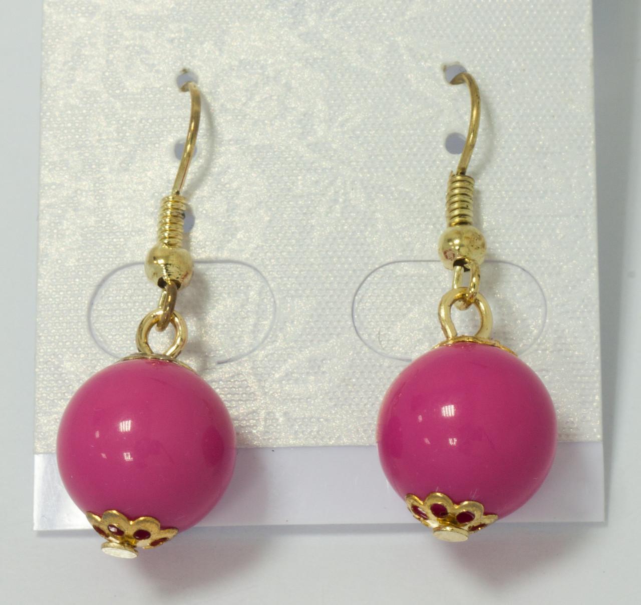 Серьги-шарики розовые