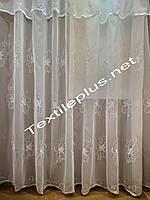 Тюль с ламбрекеном Белый цветок