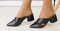 Мюли на каблуке кожаные черные, фото 1