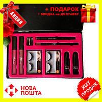Набор косметики HUDABEAUTY 9 в 1 | помада матовая | карандаш для бровей и губ | накладные ресницы