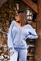 Голубой женский костюм со свободным свитером, фото 1