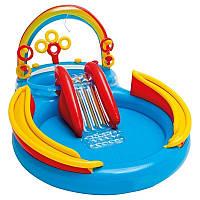 Бассейн надувной игровой центр Intex «Радуга» с надувными кольцами фонтаном 297х193х135 см артикул 57453