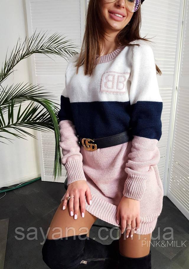 женское вязаное платье-свитер