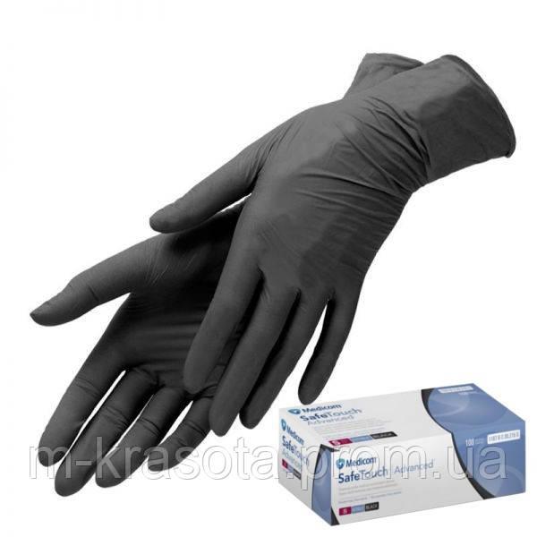 Нитриловые ЧЕРНЫЕ перчатки Medicom, Медиком, размер L, 100шт/уп