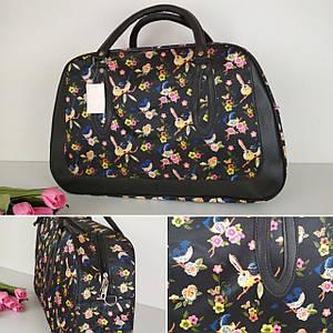 Женская черная дорожная сумка с цветочным принтом 47*33*15 см