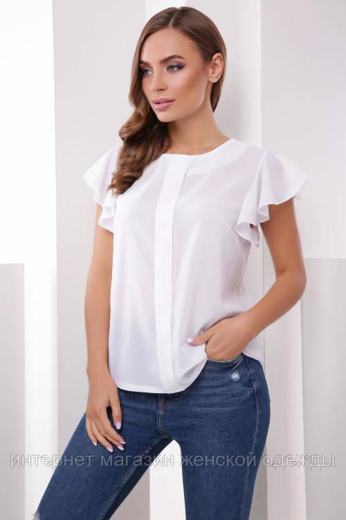 Белая нарядная блузка женская из шифона лето 2019
