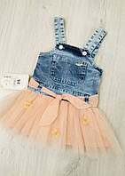 Детский джинсовый сарафан для девочки Picola размер 86 (на 18 месяцев)