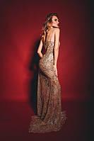 Вечернее платье рыбка золотого цвета