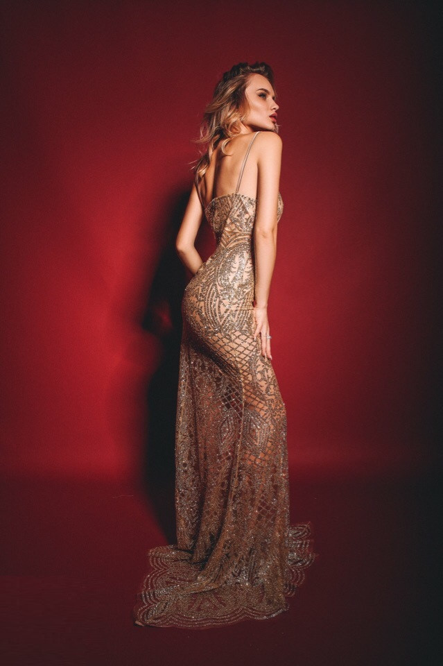 Вечернее платье рыбка золотого цвета, фото 1