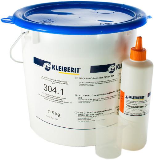 ПВА клей D4 Клейберит 304.1 (Kleiberit 304.1) 9,5 кг + отвердитель 304.3 (0,5 кг). КОМПЛЕКТ