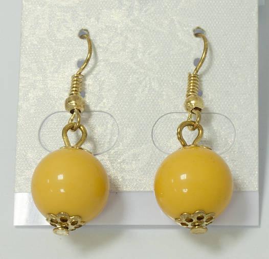 Серьги-шарики желтые