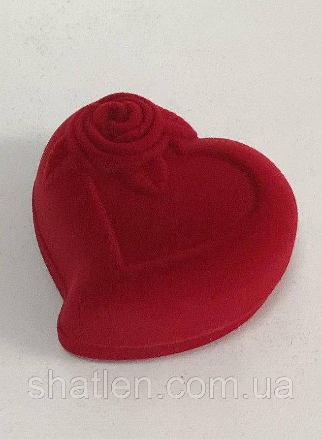 Футляр сердце для двух колец красный бархатный 089