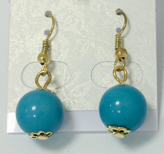 Серьги-шарики голубые