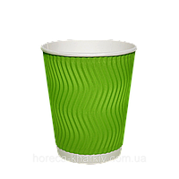 """Одноразовий стакан гофрований серія Салатовий (Хвиля) 350мл. Євро 25шт/рук; 24рук/ящ; 600шт/ящ, під кришку КВ90/""""РОМБ"""" 90"""