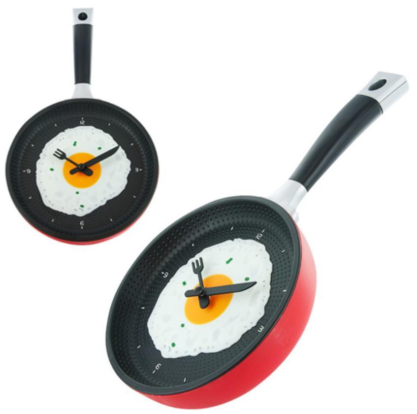 Часы в виде сковородки на кухню / Красные
