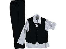 Детский школьный брючный костюм тройка для мальчика 116 см