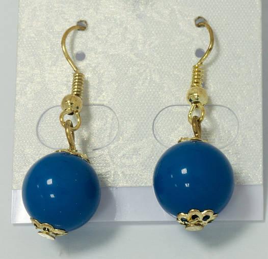 Серьги-шарики синие