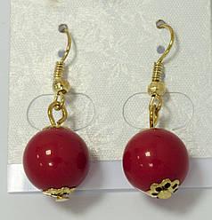 Серьги-шарики красные