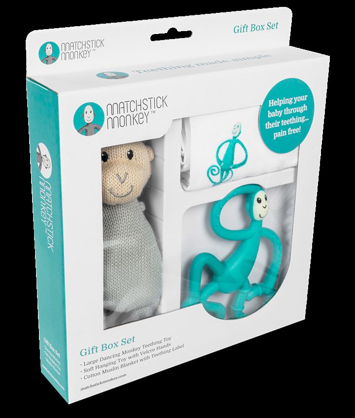 Matchstick Monkey - Подарочный набор GREEN (органическая пеленка Muslin, прорезыватель, мягкая игрушка)