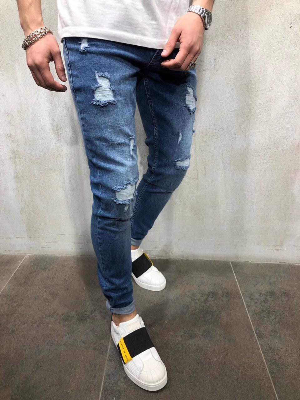 adf0ca12684 Джинсы мужские синие рваные   зауженные джинсы   весна лето осень   ТОП  КАЧЕСТВО   мужские