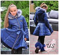 Детская  теплая куртка-пуховик для девочки с мехом. Цвета!