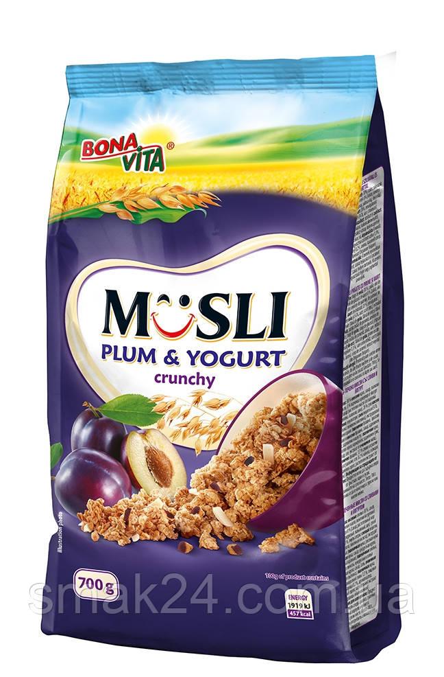 Мюсли хрустящие (кранчи) со сливами и йогуртом Bona Vita Чехия 700г