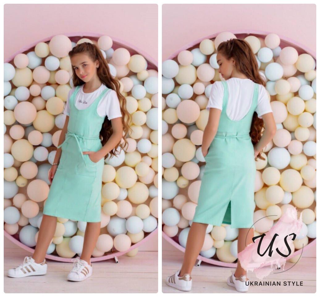 ed17688d529 Красивый детский комплект  джинсовый сарафан и футболка. 4 цвета ...