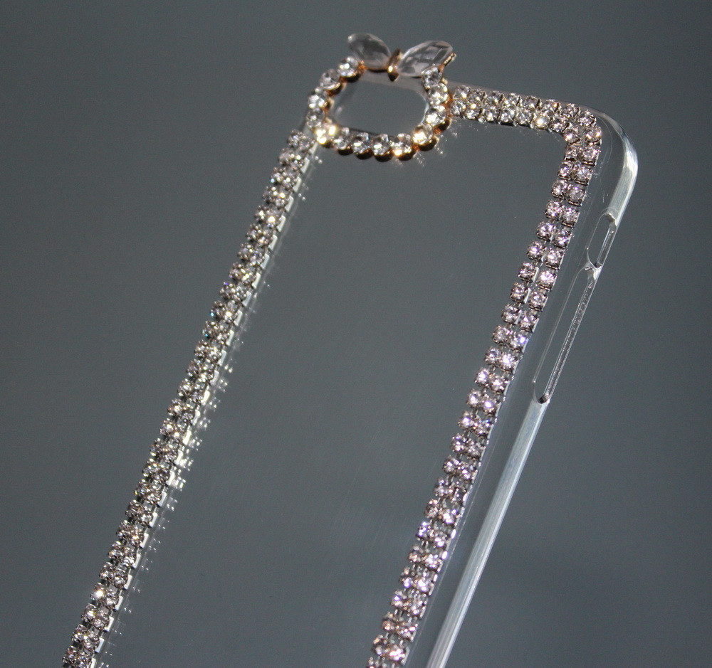 Чехол для iPhone 5C прозрачный с кристаллами, фото 1
