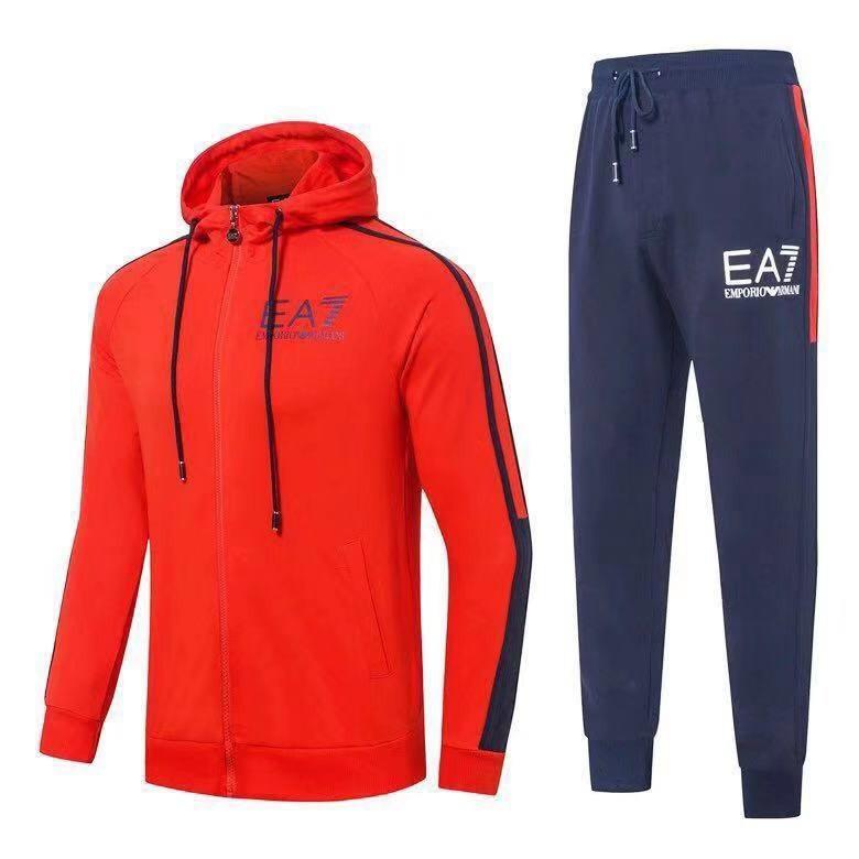 Спортивный костюм EA7 Emporio Armani Athletic Cotton Tracksuit XXL Красный с синим (88586)