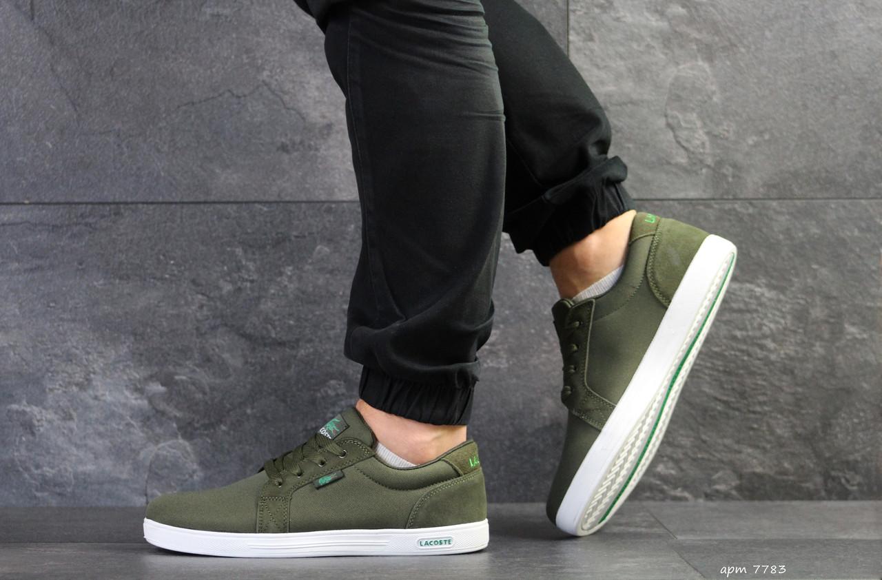Мужские кроссовки Lacoste,текстиль, темно зеленые