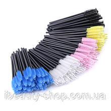 Щетка нейлоновая, цветная, для ресниц и бровей, 50 упаковок, оптом.
