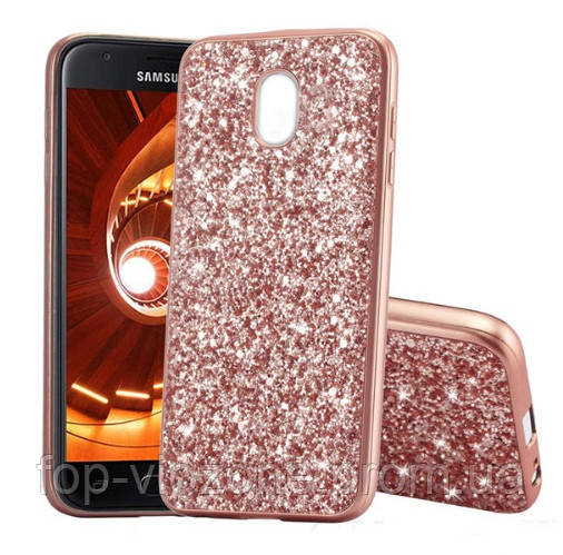 Чехол/Бампер блеск с кристаллами для Samsung J7 2017 (J730) Розовый (Силиконовый)