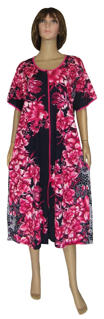 9df2505b35e32 Халат женский летний домашний 18013 Flat Color Batal Розовые Пионы коттон,  р.р.56-66