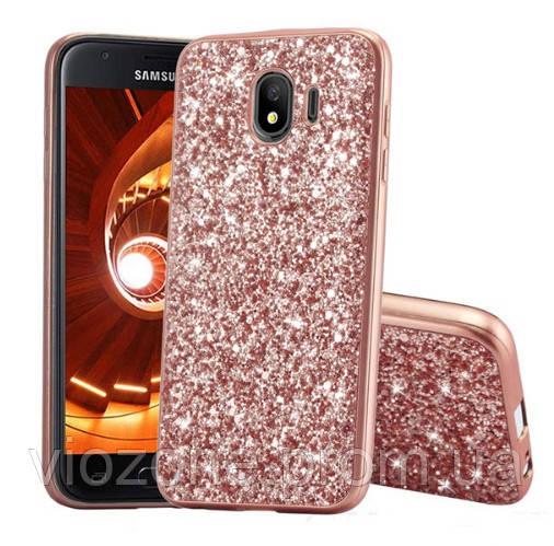 Чехол/Бампер блеск с кристаллами для Samsung J4 2018 (J400) Розовый (Силиконовый)