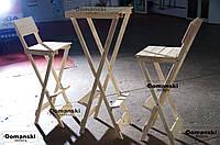 Набор кофейный столик и два стула, раскладной. Барный стол складной, стул складной. Цена за комплект.